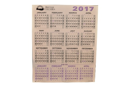 Calendar, Wall, 2017/18, 25.5 X 30.5, Printed on 100% Recycled Stock
