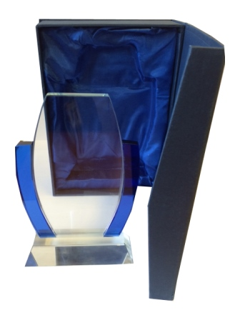 Glass Trophy with Blue Accents