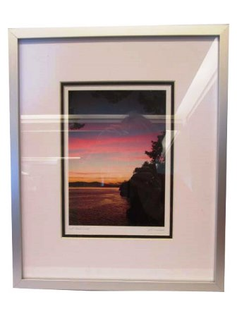 Framed Art Card of Gulf Island Sunset by Jeff Maihara