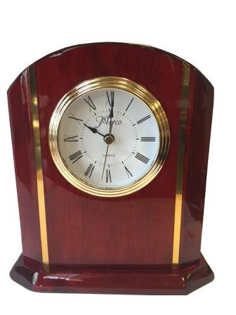Clock, Rosewood With Brass Accents
