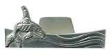 Business Card Holder, Pewter Whale
