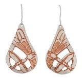 Silver and Copper Earrings, Dragonfly Design