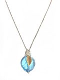 Necklace, Blue Topaz Crystal and Leaf Accent
