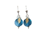 Earrings,  Blue Topaz Crystal with Leaf Accent