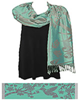 A Sacred Shawl, Blossoms and Hummingbirds, Mint